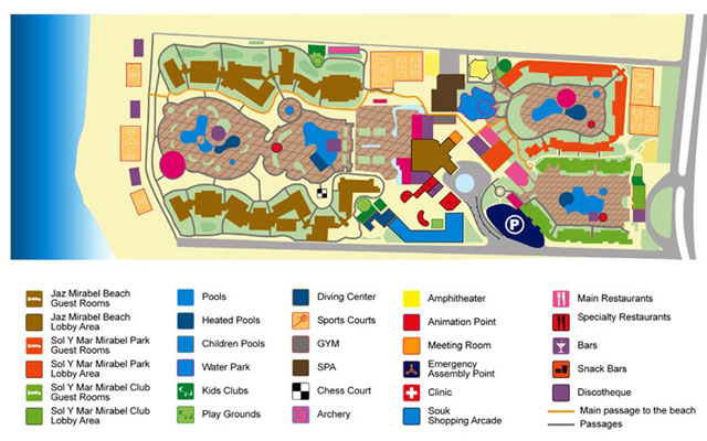 План отеля Jaz Mirabel Beach